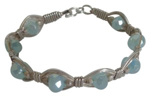Handmade by Myself Handcrafted Sterling Silver Facated Aquamarine A.B. Cuff Bracelet, 6.5 inches