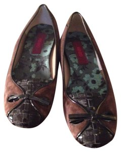 Kenzo Leather Suede Round Toe Box Brown and Black Flats