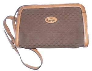Gucci Mint Vintage Early Rectangular Shades Of Brown Cross Body Bag