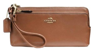 Coach Coach Double Zip Wallet in Smooth Leather Wristlet Saddle 52636 NWT