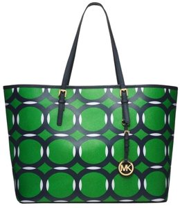Michael Kors Mk Travel Tote in Deco Palm Green Blue White