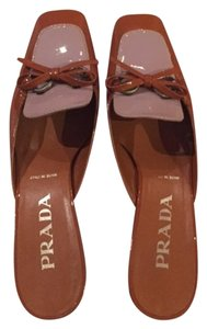 Prada Patent Lavender Purple and brown Mules