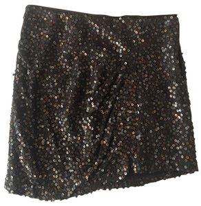 Nanette Lepore Sequined Silk Mini Mini Skirt Brown