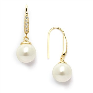 Vintage French Wire Pearl Drop Bridal Earrings In 14k Gold
