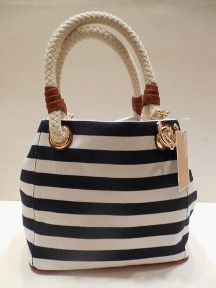 0be78d59ae5a Michael Kors Marina Stripe Md Grab Luggage Leather Navy Blue White/Gold  Hardware Canvas Tote - Tradesy