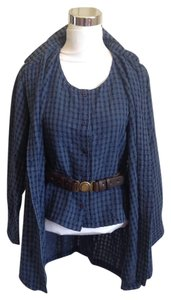 Eileen Fisher Set Gingham Cotton Tunic Sleeveless Button Down Shirt Blue