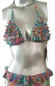 Gottex Euro Line-Print Ruffle Paired Bikini Top/Bottom ITL sizing Sz 8 RESORT