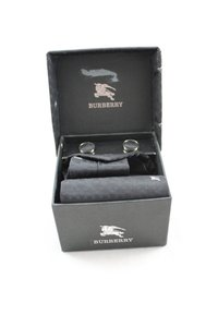 Burberry Burberry Black & Gray Tie, Cufflinks and Pocket Square Set