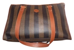Fendi Mint Vintage Two-way Style Train Case/hat Box Removable Strap Satchel in Wide pequin design stripes in browns/blacks