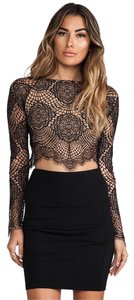 For Love & Lemons Lace Crop Top Black and Nude