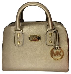 Michael Kors Saffiano Leather Satchel in Pale Gold