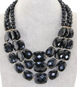 New Black Chunky Tripple Bib Necklace J2762