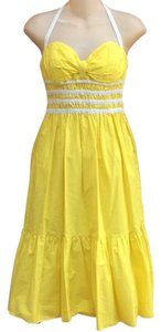 Yellow/White Maxi Dress by Betsey Johnson Smocked