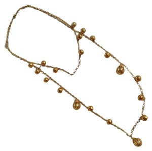 Anthropologie Gold Double Strand Necklace With Filigree Charms