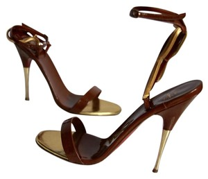 Christian Louboutin Strappy Ankle Strap Brown Sandals
