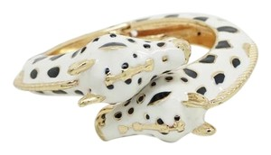 Elle Cross Elle Cross Animal Collection Wild White Black Gold Enamel Bypass Giraffe Head Bracelet Spring Hinge Size 7