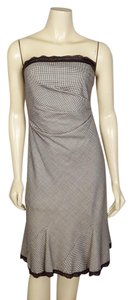 Kay Unger short dress brown and white Strapless Size 4 on Tradesy