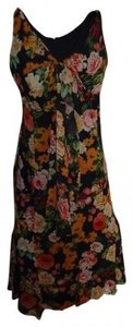 Black floral Maxi Dress by Newport News Rayon Xl Sheer Lined High-low Print