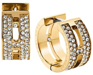 Michael Kors Michael Kors Gold-Tone Pave Clear Huggie Earring (come with dust bag)