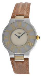 Cartier Mint Ladies Cartier Must 21 123000P Quartz 18K Gold Stainless Steel 31MM Watch