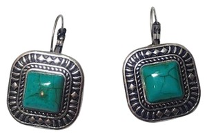 Other New Square Turquoise Gemstone Earrings French Hook Silver Tone J2764
