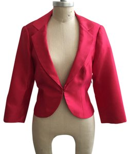 Kay Unger Designer Dressy Dress Jacket Cropped Diamond Silk Structured Statement Bright Rounded Hem Pink Blazer
