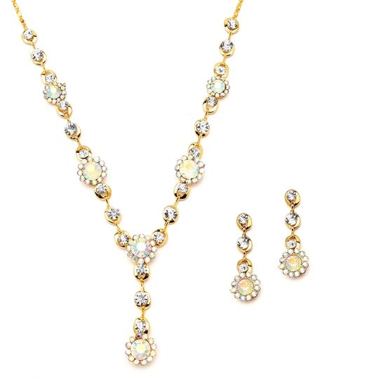 Ab Crystals Floral Gold Necklace & Earrings Set
