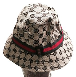 Gucci Black and Gray Gucci Canvas Bucket Hat Fedora Size M