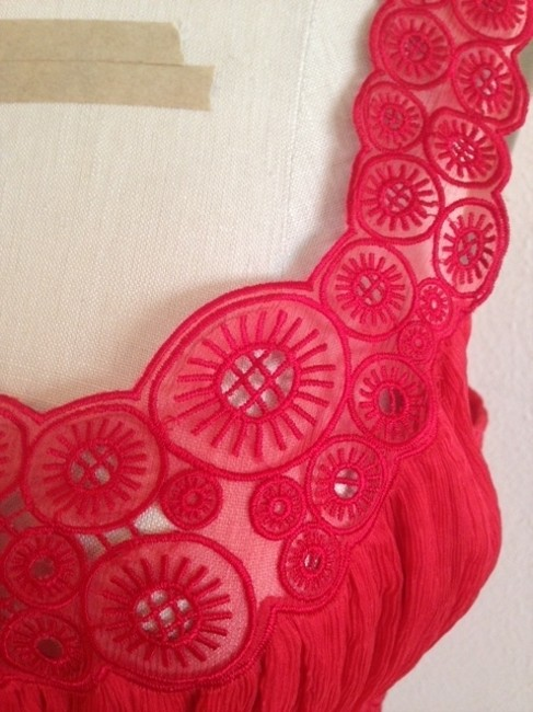 Catherine Malandrino Silk Chiffon Embroidered Boho Top Red