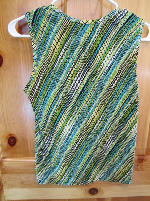 Other Multi Stripe Black Blue Yellow Green White Stretchy Figure Flattering Top Mulit