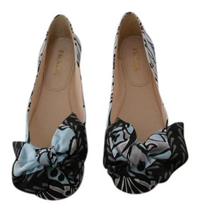 Prada Print Bow Vamp Silk Upper Made In Italy Light Blue/Grey/Black Flats