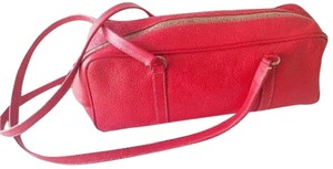 Prada 1960's Mod Look Buttery Soft Chrome Hardware Textured Leather Boxy W/ Long Straps Satchel in Red