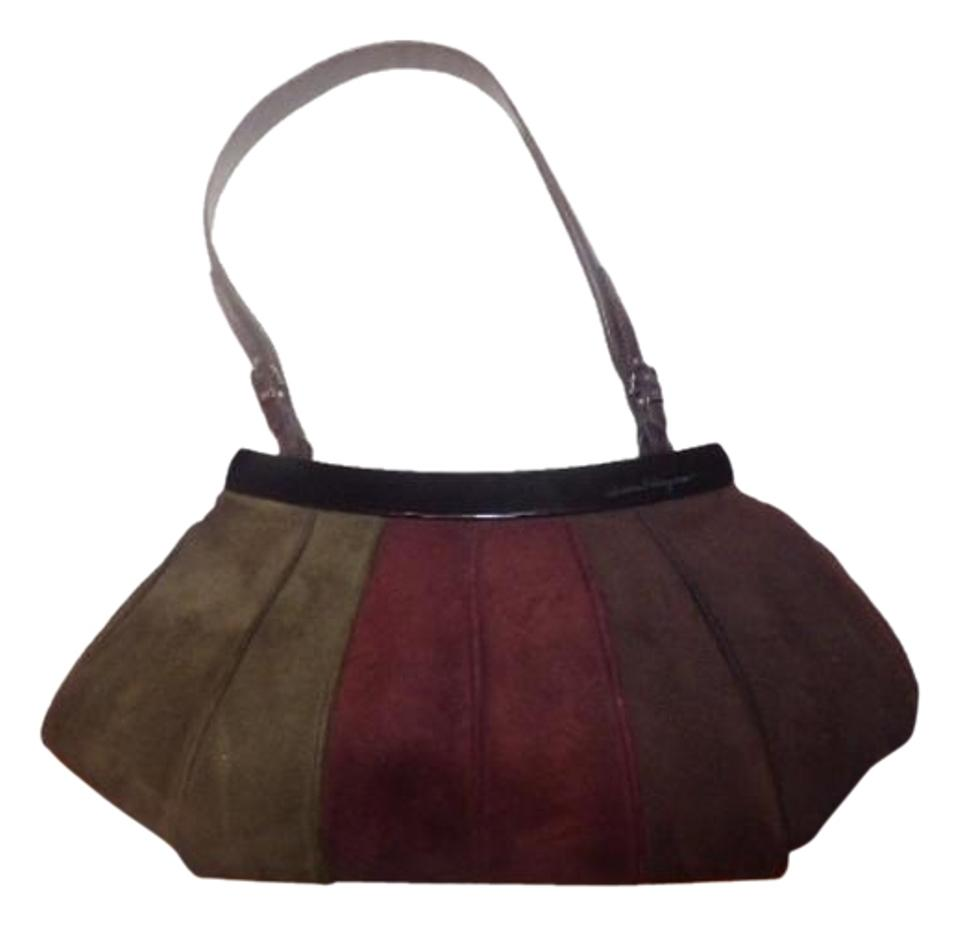 c6a6bd651514 Salvatore Ferragamo 1960 s Mod Look Chrome Hardware Ruched Pleated Suede  Perfect Fall Colors Satchel in ...