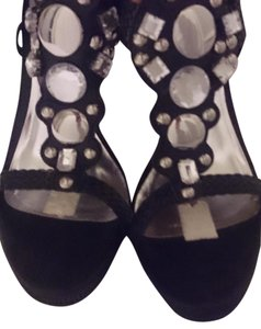 Bakers Womens Wedge Rhinestones Sz 8.5 black Sandals