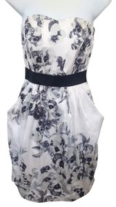 H&M short dress Off-white background with floral black & gray Strapless on Tradesy