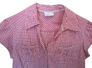 Arizona Jean Company Western Cowgirl White Rodeo Button Down Shirt Pink