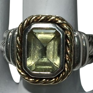 Sterling Silver and 14K Gold Peridot Ring
