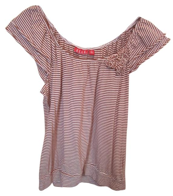 Elle Stripe Cap Angel Flower Waist T Shirt Multi