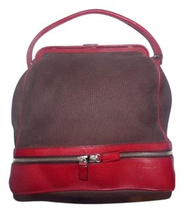 Prada Handheld And Red Dual Zip Bottom Doctor's Shape Hinged Opening Satchel in brown canvas/red leather