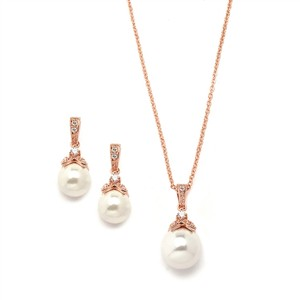Rose Gold Pearl Drop Vintage Pave Bridal Necklace & Earrings Jewelry Set
