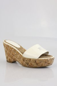 Chanel Vintage White and natural cork Wedges