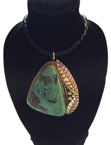 Native American Navajo Silver/ Magenta Turquoise Pendant / Leather Braded Necklace