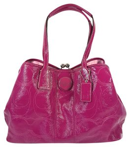 Coach Patent Leather Stitch Tote in Berry Pink
