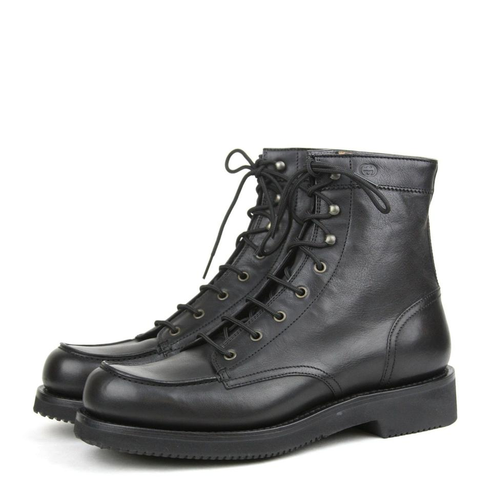 5579fbf0290f Gucci Black1000 Leather Lace-up Boot W Interlocking G Black 11.5  Us 12.5 352955  Shoes