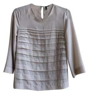 United Colors of Benetton Cropped Tiered Work Polyester Top Taupe