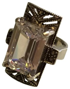 Vintage Modernist Silver Cocktail Ring With Clear Crystal Size 7 1/2
