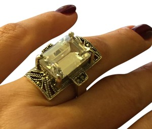 Other Vintage Modernist Silver Cocktail Ring With Clear Crystal Size 7 1/2
