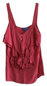 Anthropologie Silk Blouse Top Red