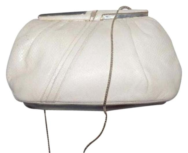 Item - Evening Bag Two-way Ivory Snakeskin Leather with A Pink Rose Quartz Clasp Clutch