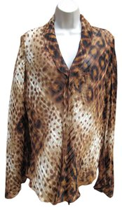 DKNY Silk Sheer Leopard Animal Print Top Brown Leopard